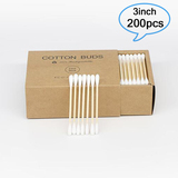 3 Inches Bamboo Cotton Swabs with Two Tipped Organic Cotton Applicator